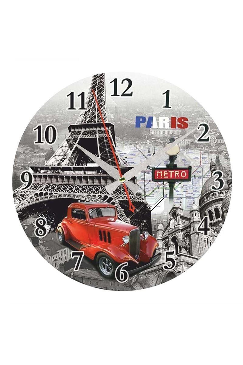 Tempo Karışık Renkli DP-MDF-007 Eyfel Kulesi Duvar Saati