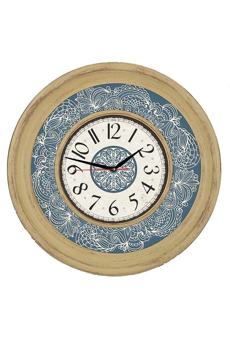 Tempo Mavi DP-8002-1 Ahşap Görünümlü Duvar Saati