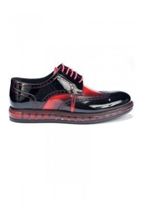 Three Star Siyah-Kırmızı TS-123 Hakiki Deri Erkek Ayakkabı