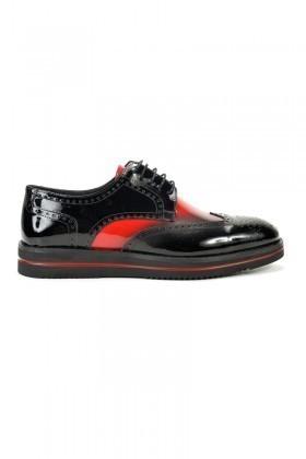 Three Star Siyah-Kırmızı TS-405 Hakiki Deri Erkek Ayakkabı