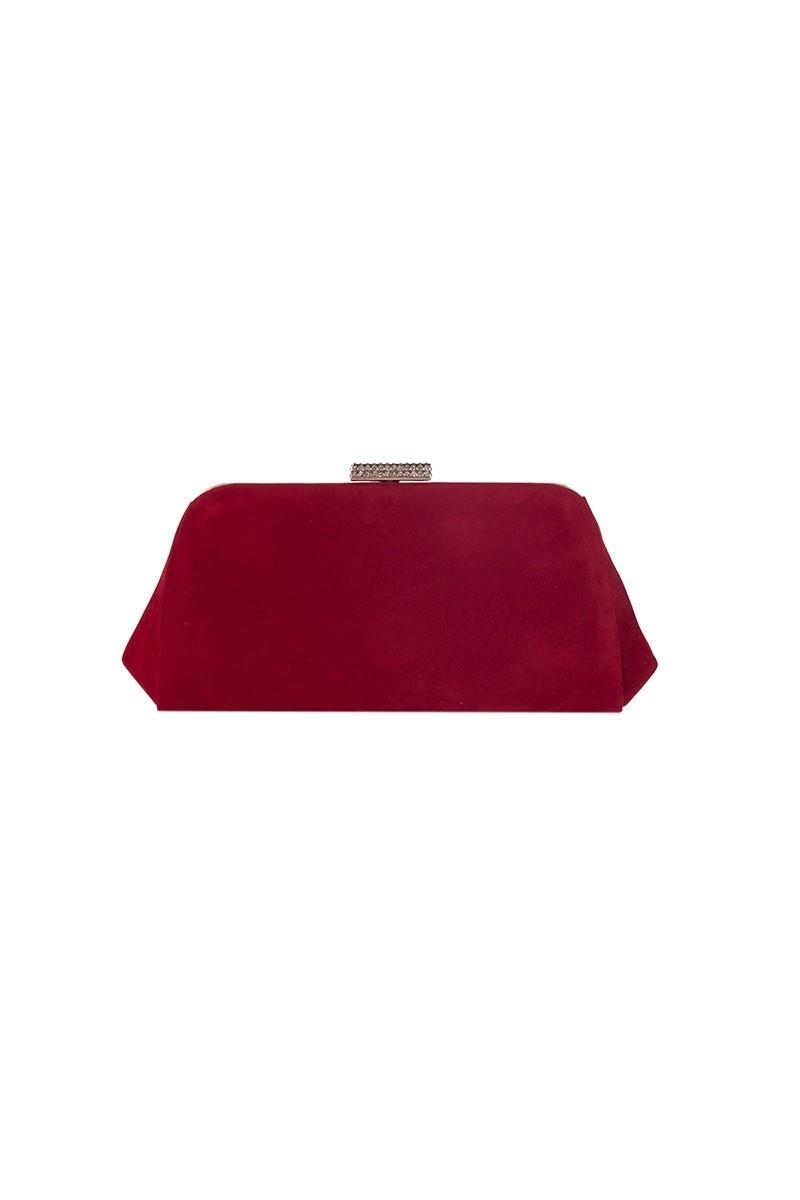 OB Kırmızı OB-6K0A7040 Kadife Taşlı Portföy Çanta