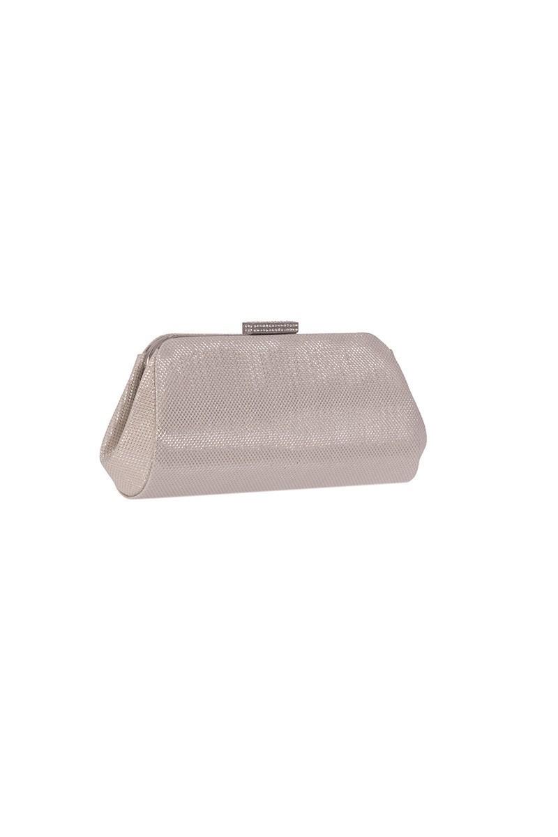 OB Gümüş Rengi OB-6K0A7027 Simli Taşlı Portföy Çanta