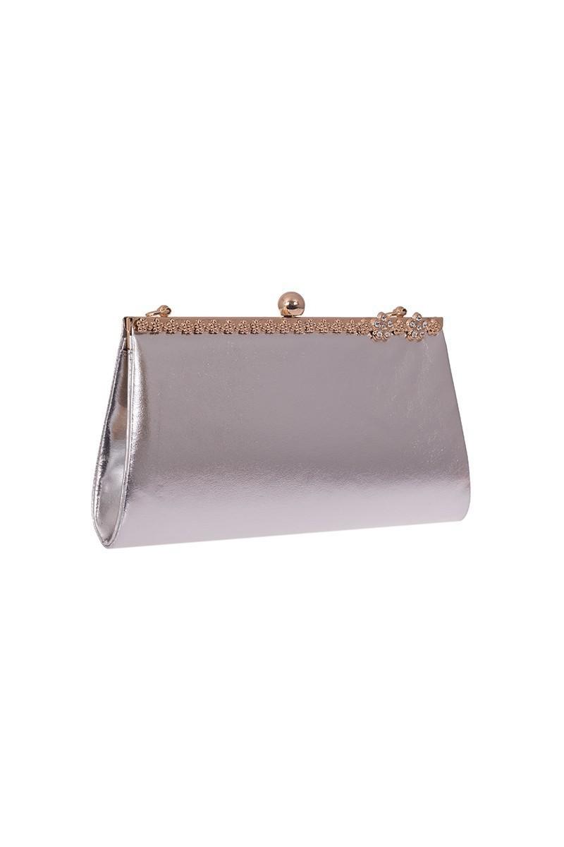 OB Gümüş Rengi OB-6K0A7011 Rugan Taşlı Portföy Çanta