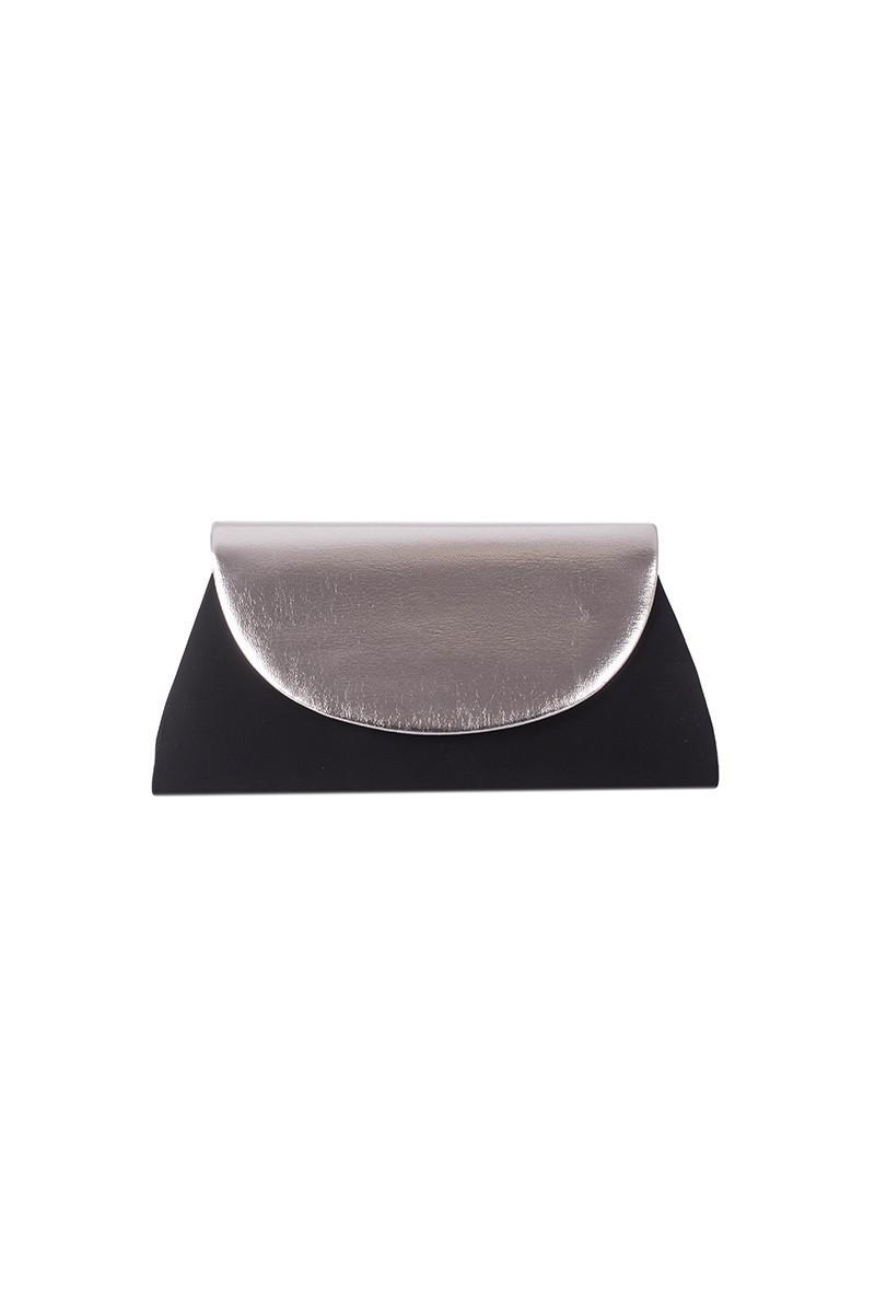 OB Siyah-Gümüş OB-6K0A6721 Kadife Portföy Çanta