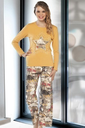 Lady Lingerie Sarı LL-9198 Bayan Pijama