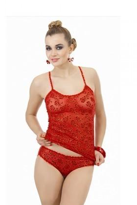 Lady Lingerie Kırmızı LL-1010 Bayan Atlet Takımı