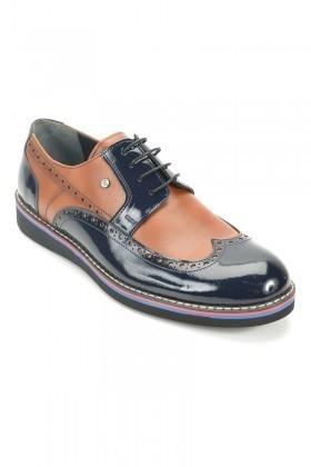 Wenetti Lacivert-Taba WNT-2222 Hakiki Deri Erkek Rugan Ayakkabı