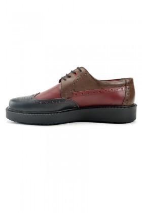 Pandew Bordo-Siyah PNDW-7215 Hakiki Deri Erkek Ayakkabı