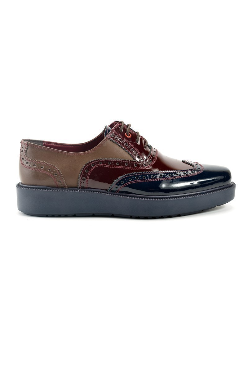 Pandew Bordo-Lacivert PNDW-7214 Hakiki Deri Erkek Ayakkabı