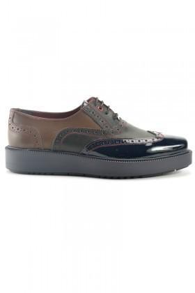 Pandew Siyah-Kahverengi PNDW-7214 Hakiki Deri Erkek Ayakkabı