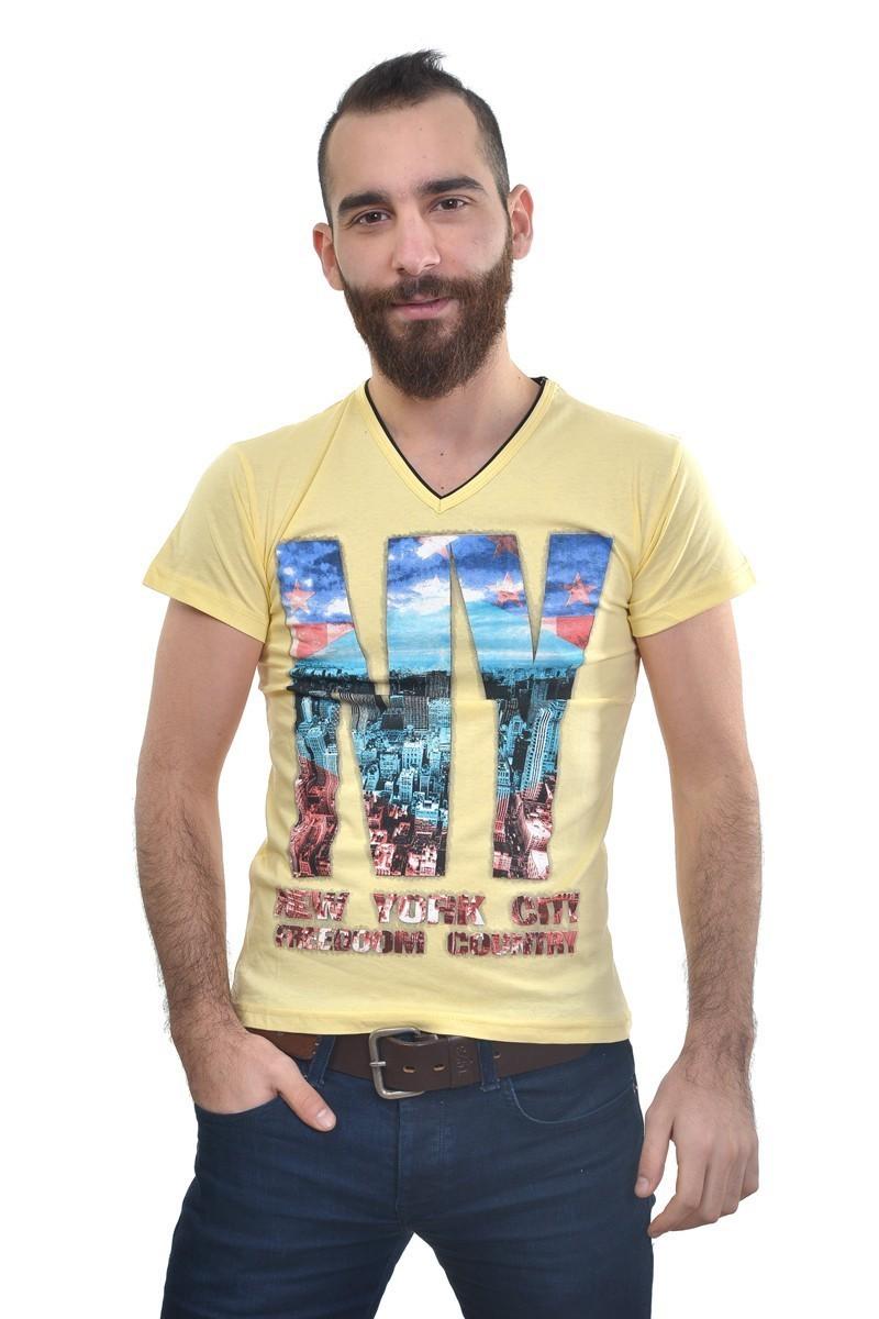 MTT Sarı MTT-197 Erkek Tişört