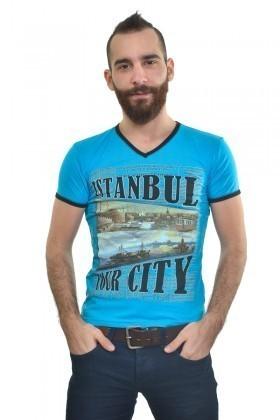 MTT Mavi MTT-165 Erkek Tişört
