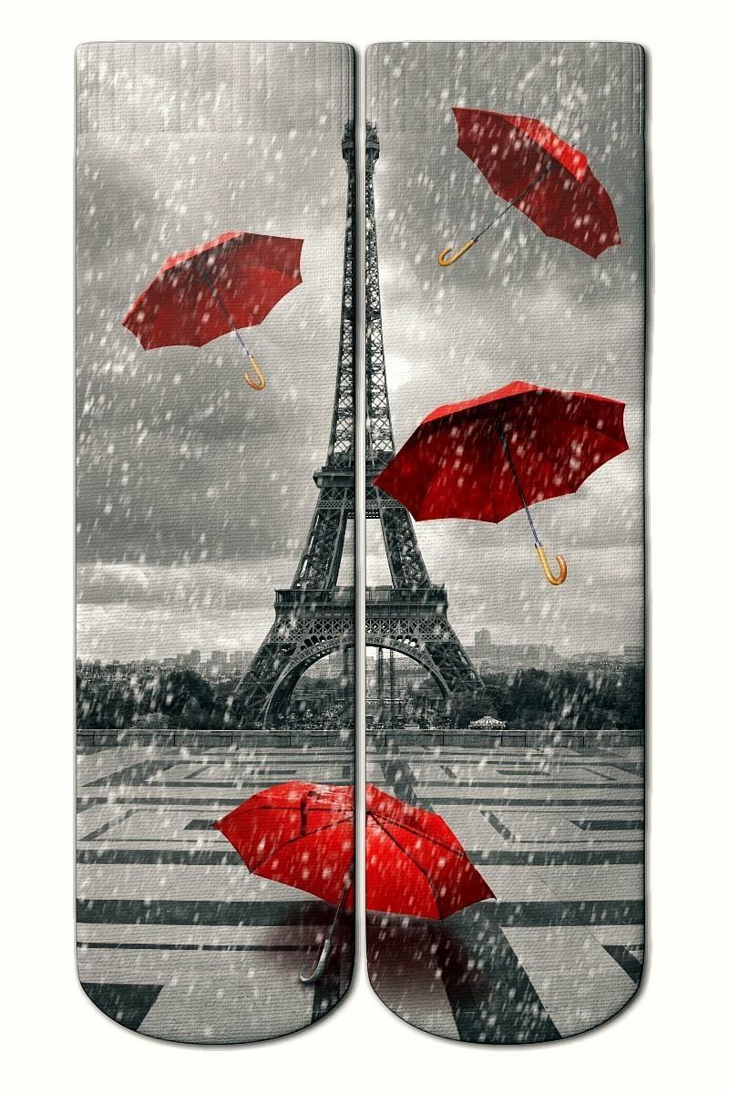 Baskido Karışık Renkli BSD-SO0106 Paris Rain Soket Çorap