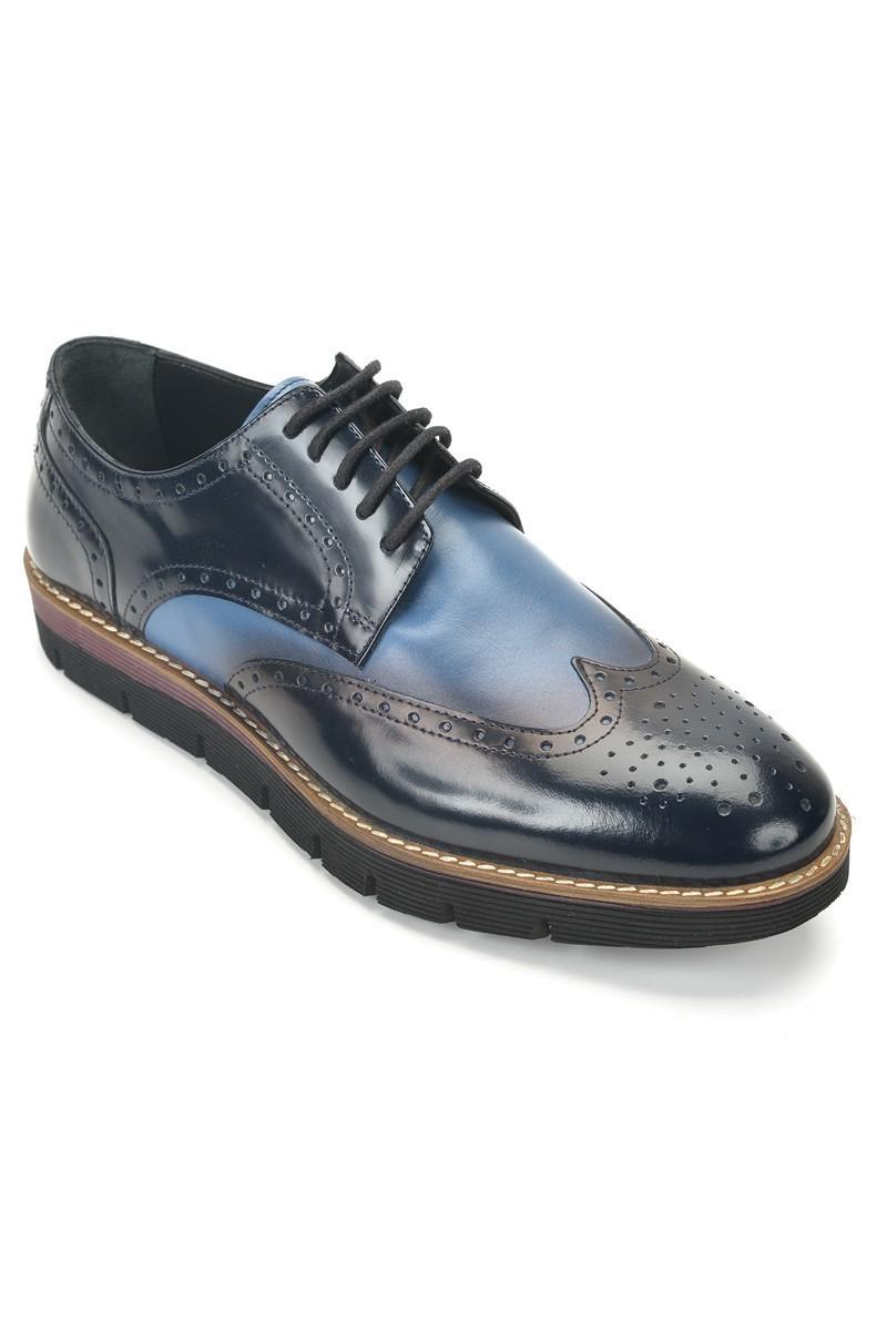 Three Star Lacivert-Mavi TS-2037 Hakiki Deri Erkek Ayakkabı