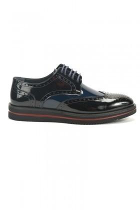 Chaos Siyah-Mavi TS-2037 Hakiki Deri Erkek Ayakkabı