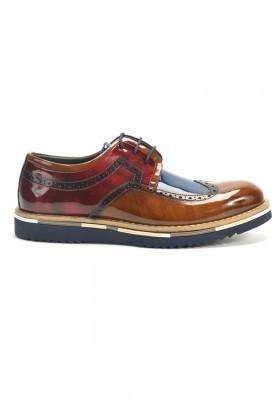 Chaos Taba-Lacivert-Bordo TS-1537 Hakiki Deri Erkek Ayakkabı