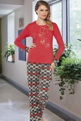 Lady Lingerie Kırmızı LL-9186 Bayan Pijama