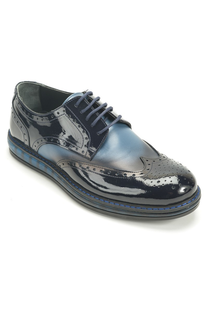 Three Star Lacivert-Mavi TS-2056 Hakiki Deri Erkek Ayakkabı