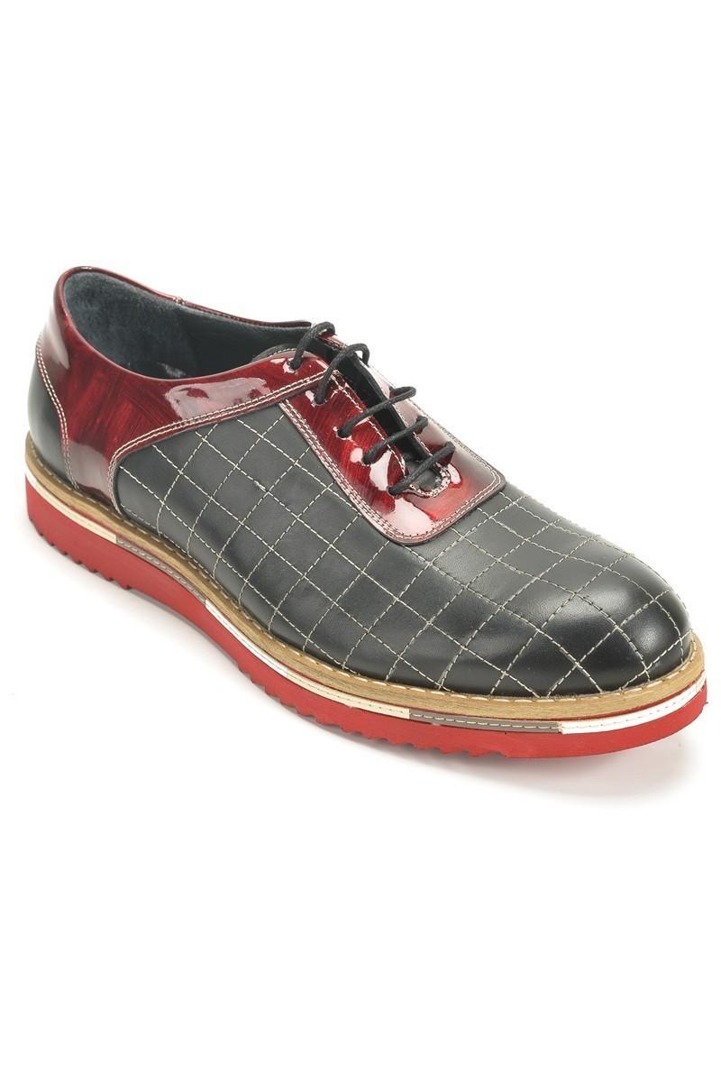 Three Star Siyah-Bordo TS-1534 Hakiki Deri Erkek Ayakkabı