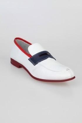 Chaos Beyaz-Kırmızı-Lacivert TS-2100 Hakiki Deri Erkek Klasik Ayakkabı