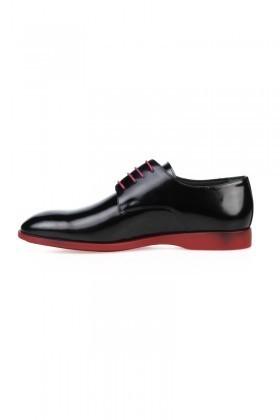 Chaos Siyah-Kırmızı TS-2025 Hakiki Deri Erkek Klasik Ayakkabı