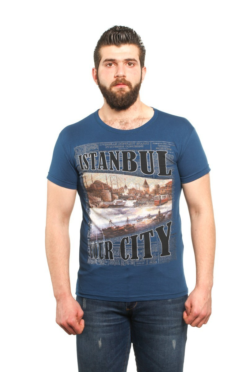 MTT Mavi MTT-34 Erkek Tişört