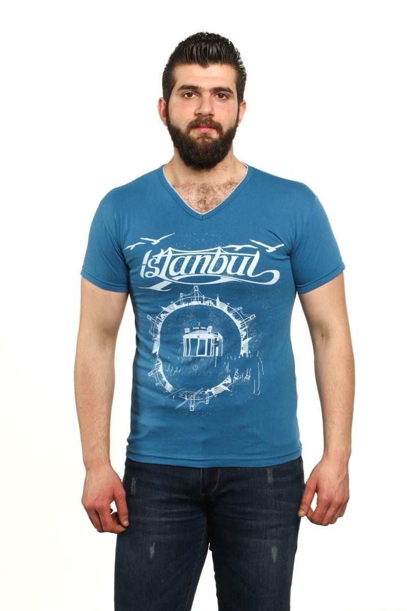 MTT Mavi MTT-51 Erkek Tişört