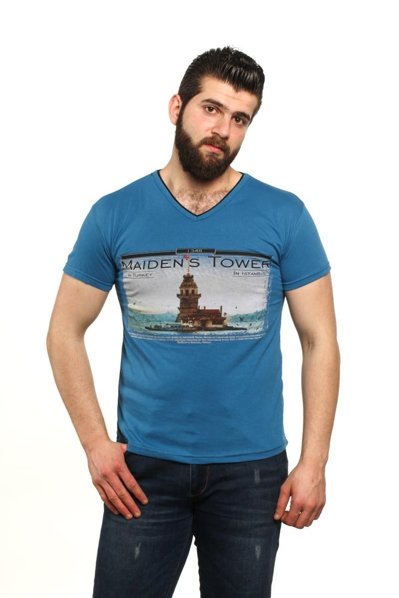 MTT Mavi MTT-55 Erkek Tişört