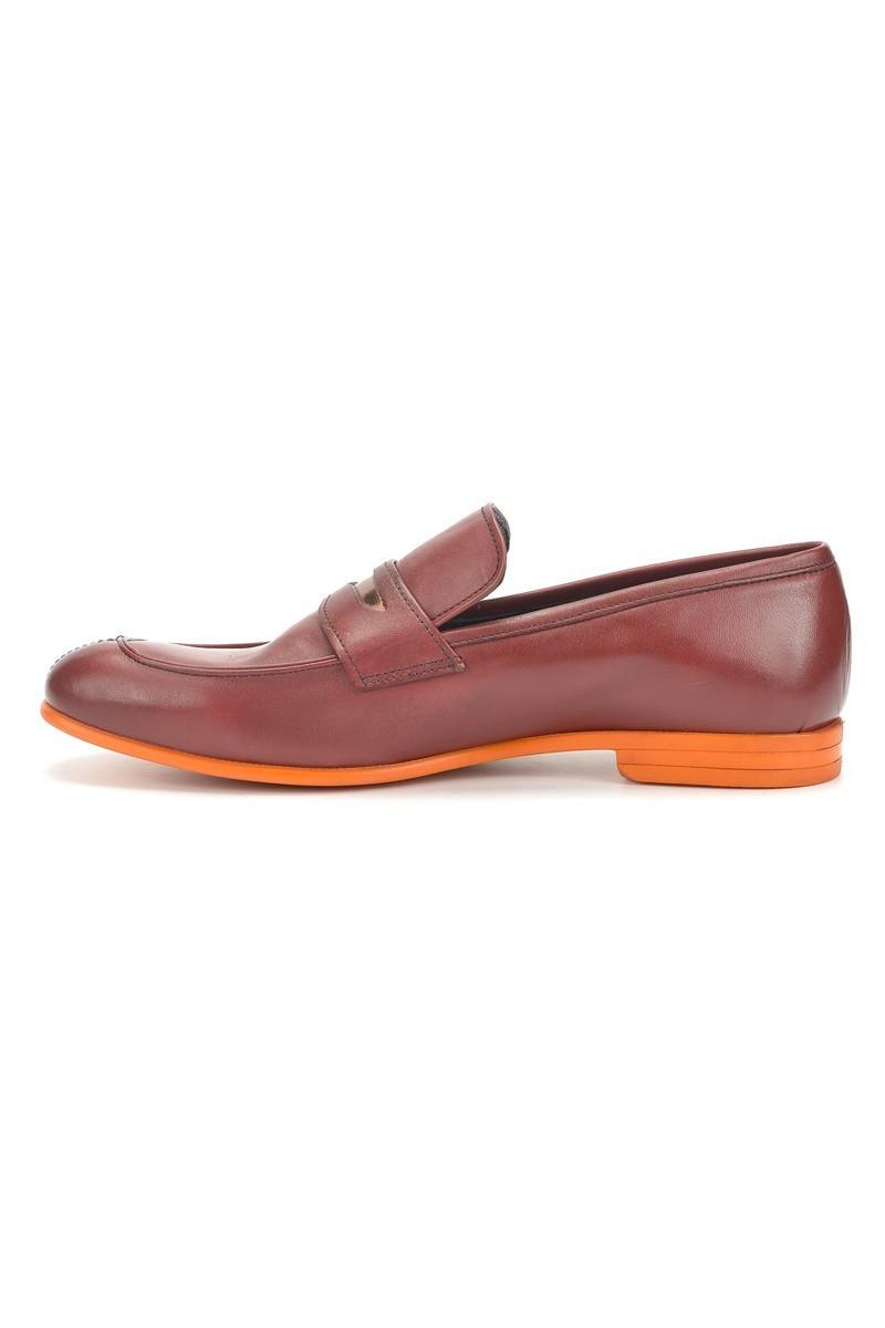 Three Star Bordo-Turuncu TS-2100 Hakiki Deri Erkek Klasik Ayakkabı