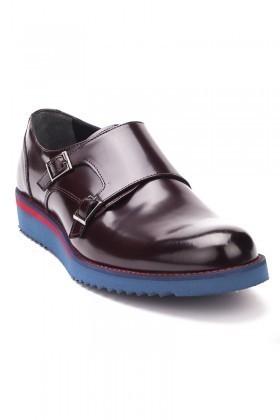 Chaos Bordo-Mavi TS-1540 Hakiki Deri Erkek Ayakkabı