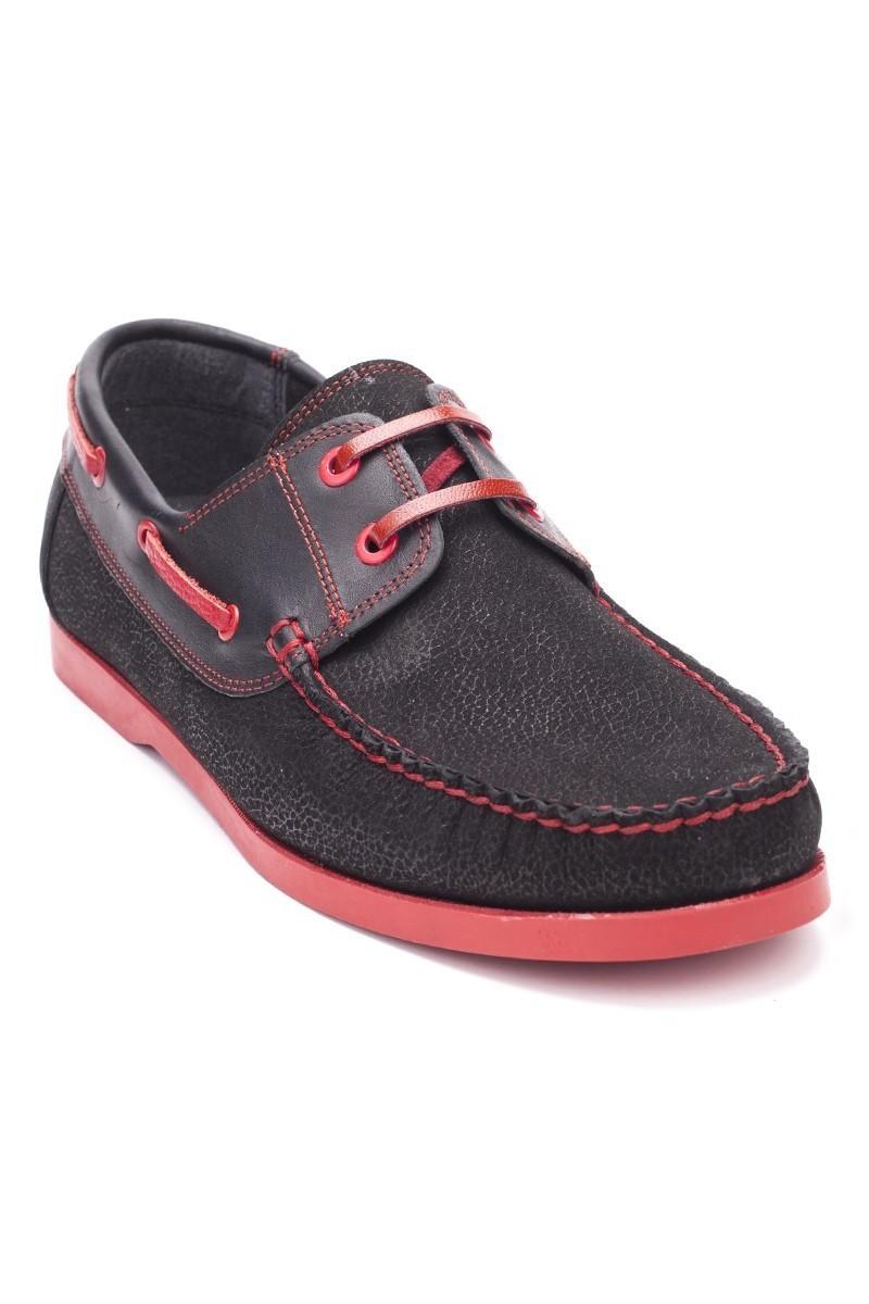 Ege Siyah-Kırmızı EG-1007 Hakiki Deri Erkek Ayakkabı