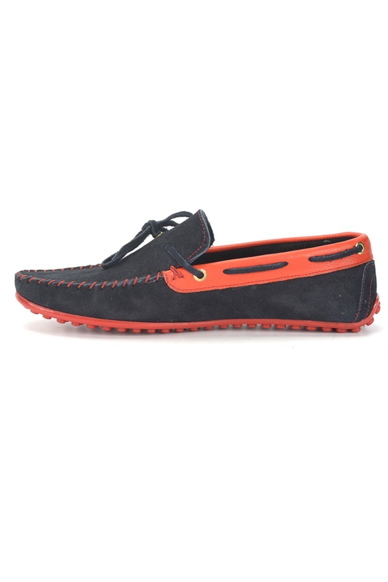 BLUESOIL Lacivert-Kırmızı BS-2525-SUET Hakiki Deri Erkek Ayakkabı