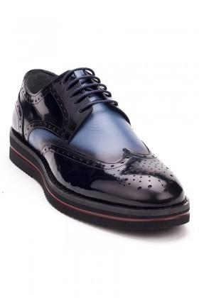 BLUESOIL Siyah-Mavi BS-2008 Hakiki Deri Erkek Ayakkabı