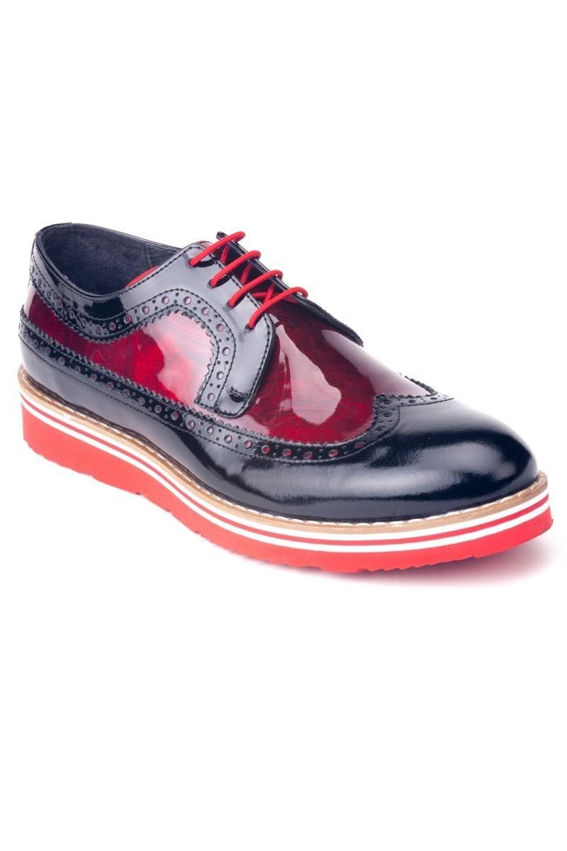 Chaos Siyah-Kırmızı TS-1531 Hakiki Deri Erkek Ayakkabı