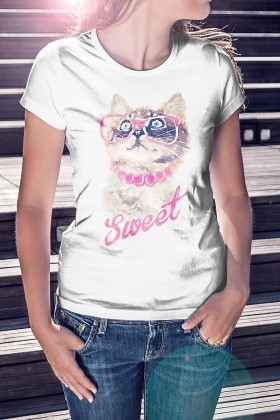 Benekli Fil Beyaz BF-B094 Sweet Cat Baskılı Tişört