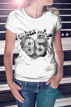 Benekli Fil Beyaz BF-B092 Super Girl 85 Baskılı Tişört