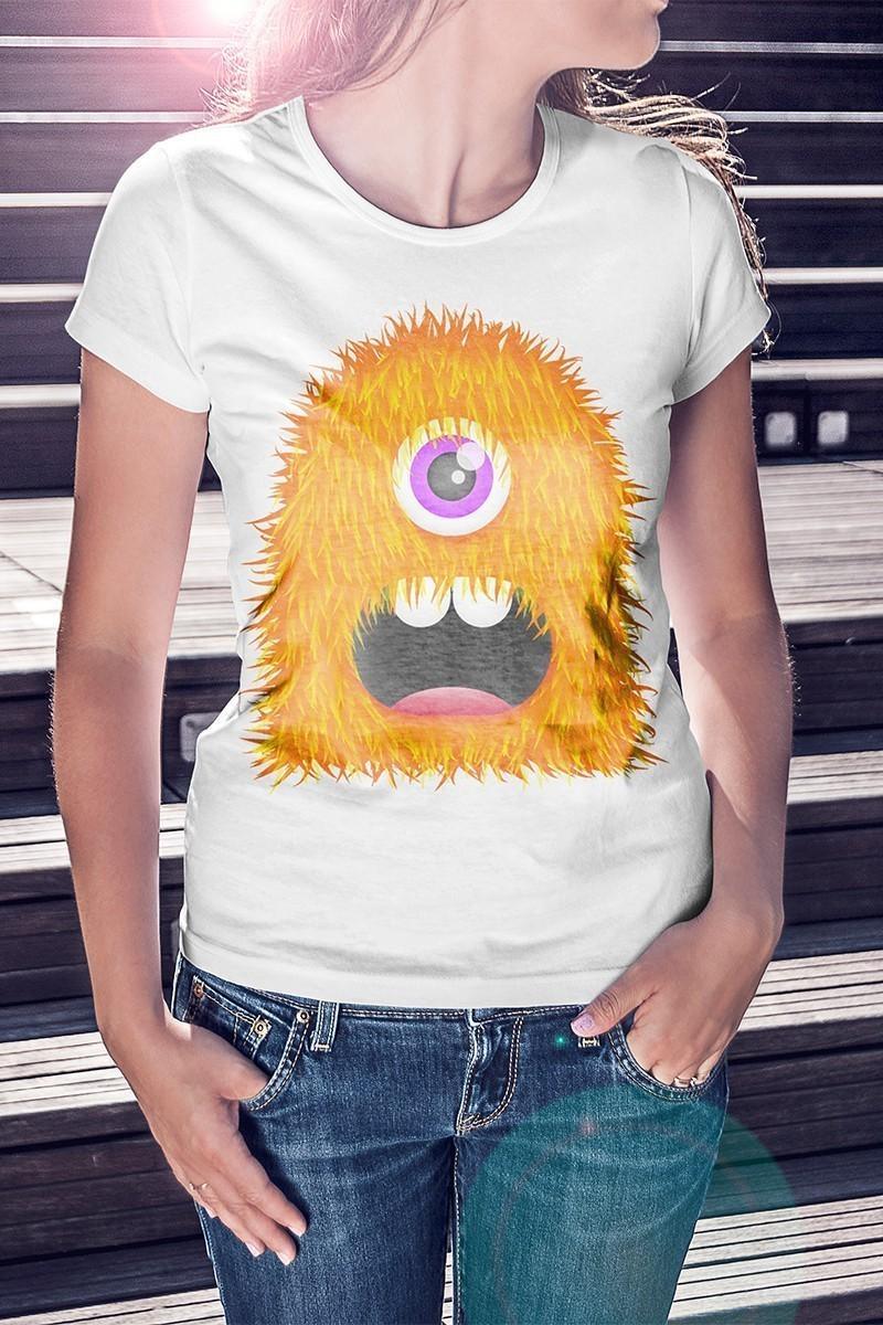 Benekli Fil Beyaz BF-B060 Monster Orange Baskılı Tişört