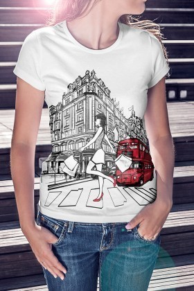 Benekli Fil Beyaz BF-B051 London Fashion Baskılı Tişört