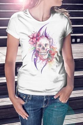 Benekli Fil Beyaz BF-B034 Flower Skull Baskılı Tişört