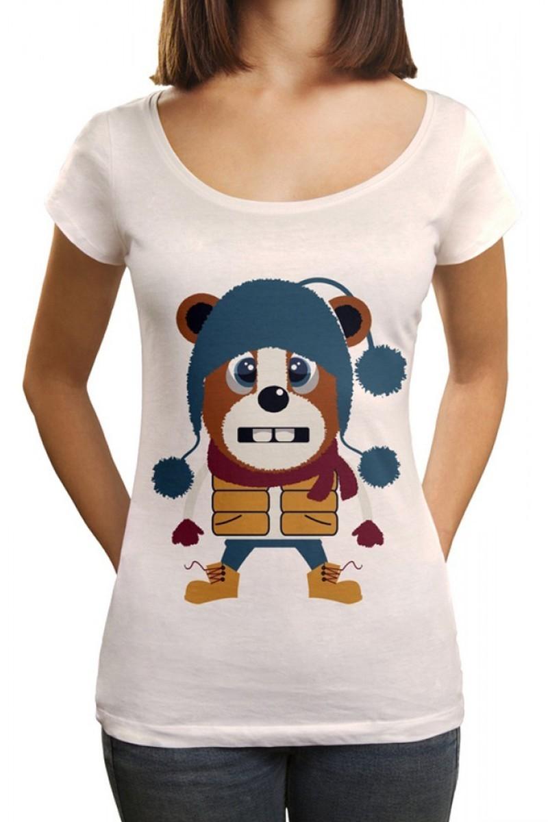 Benekli Fil Beyaz BF-BR018 Winter Bear Baskılı Tişört