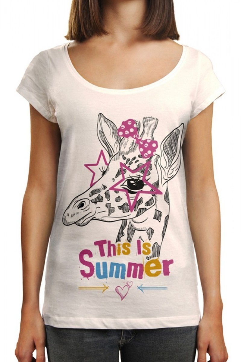 Benekli Fil Beyaz BF-BR015 This is Summer Baskılı Tişört