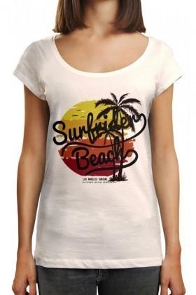 Benekli Fil Beyaz BF-BR013 Surfrider Beach Baskılı Tişört