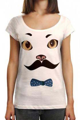 Benekli Fil Beyaz BF-BR010 Mrs Cat Baskılı Tişört