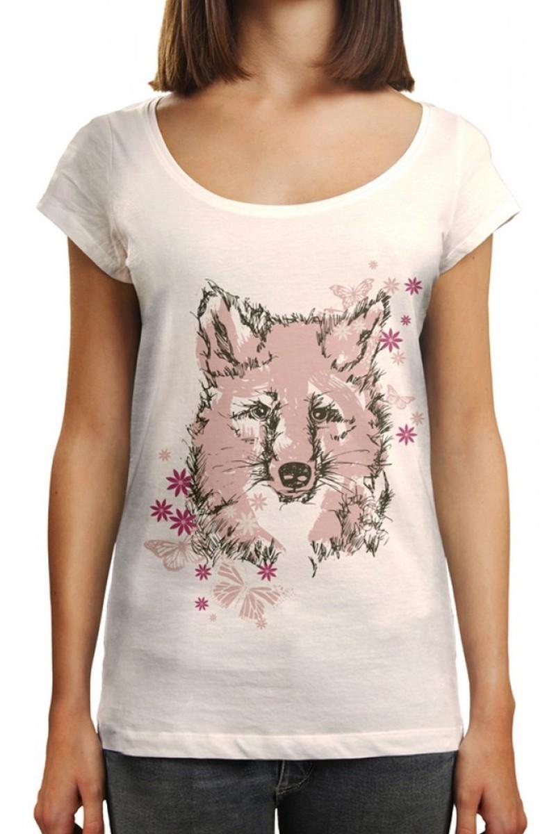 Benekli Fil Beyaz BF-BR004 Flower Fox Baskılı Tişört