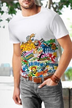 Benekli Fil Beyaz BF-E012 Cuba Baskılı Tişört
