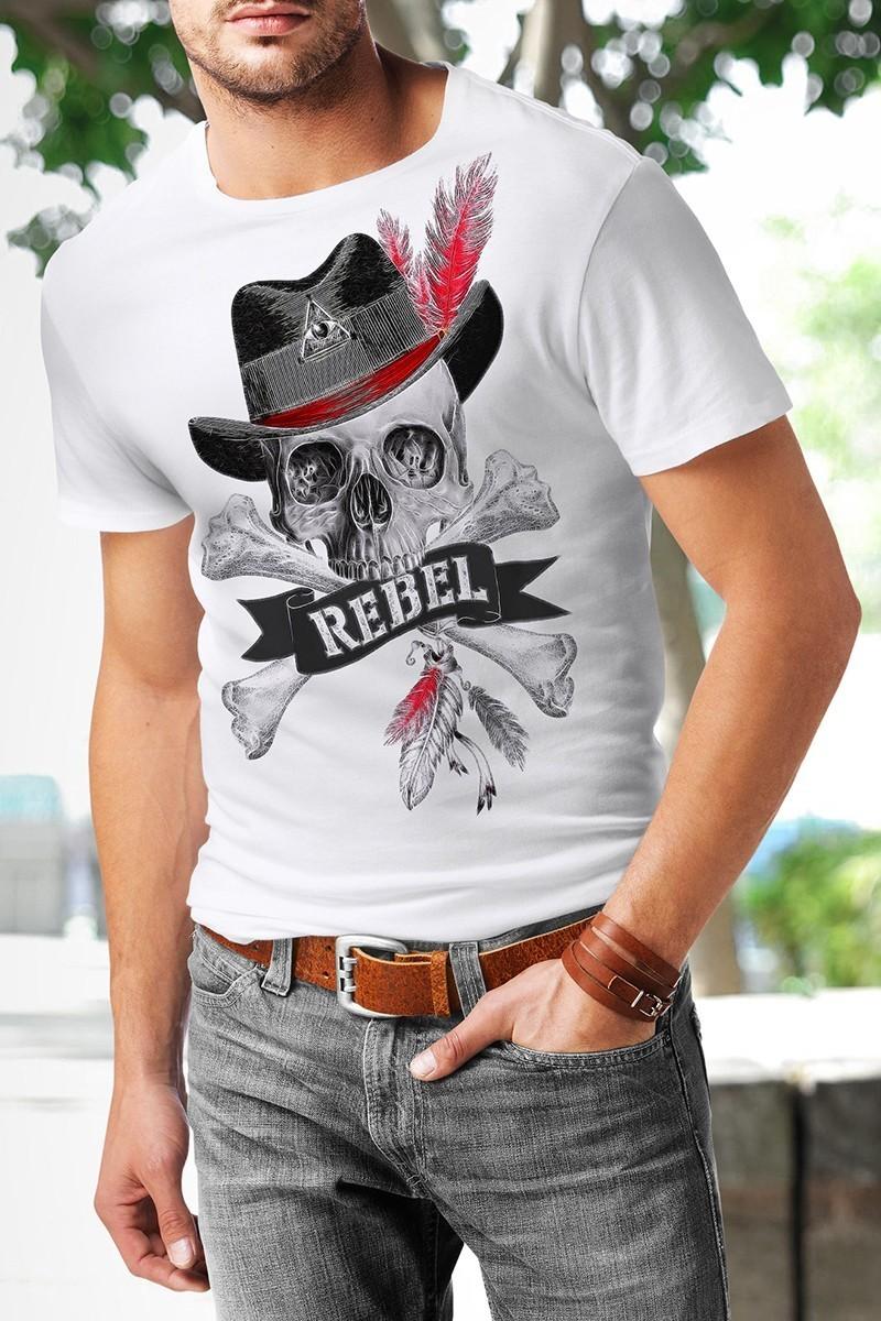 Benekli Fil Beyaz BF-E043 Rebel Baskılı Tişört