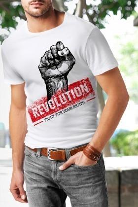 Benekli Fil Beyaz BF-E045 Revolution Baskılı Tişört