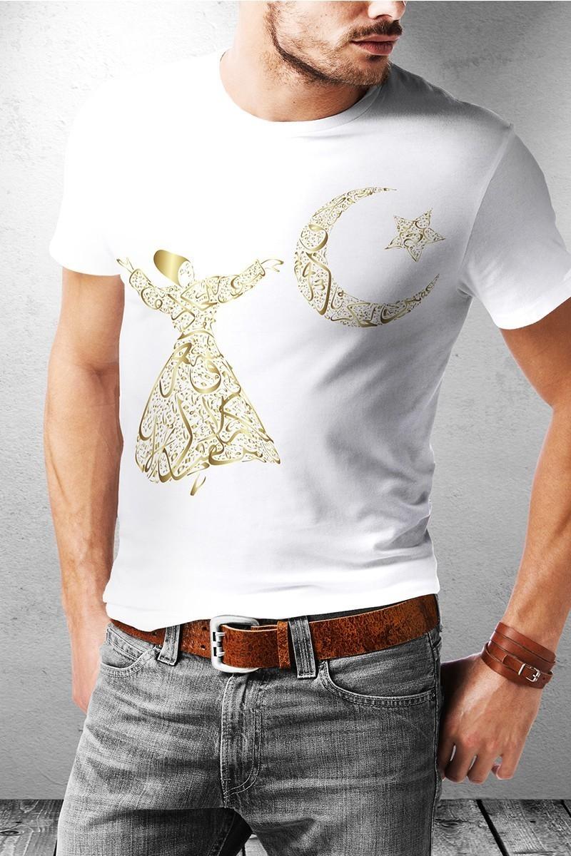 Benekli Fil Beyaz BF-E051 Semazen Baskılı Tişört