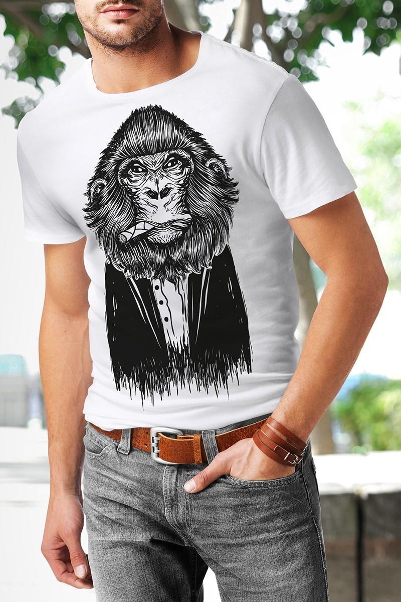 Benekli Fil Beyaz BF-E054 Smoke Baskılı Tişört