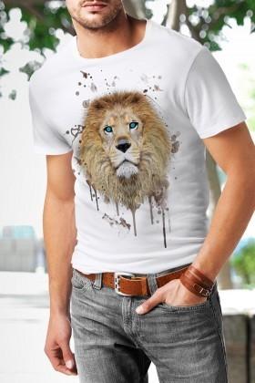 Benekli Fil Beyaz BF-E056 Splash Lion Baskılı Tişört